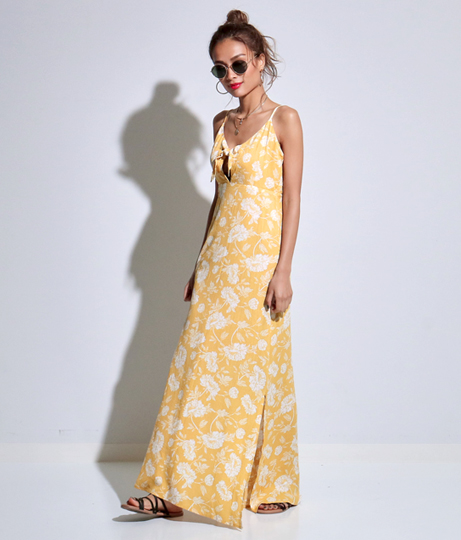 フロントリボンレトロフラワーキャミマキシワンピース(ワンピース・ドレス/マキシ丈ワンピース)   Anap USA