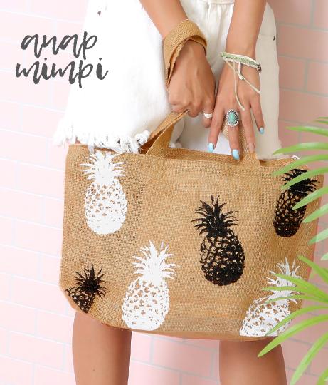 パイナップルプリントジュートバッグ