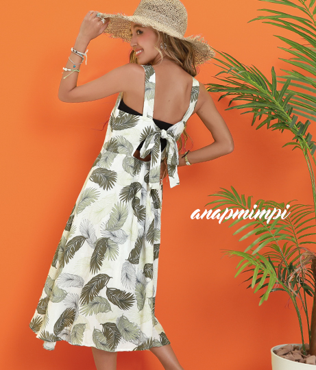 リーフバックリボンデザインワンピース(ワンピース・ドレス/ミディアムワンピ) | anap mimpi