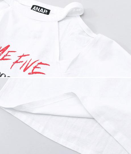 オープンショルダーバンド風Tシャツ | ANAP