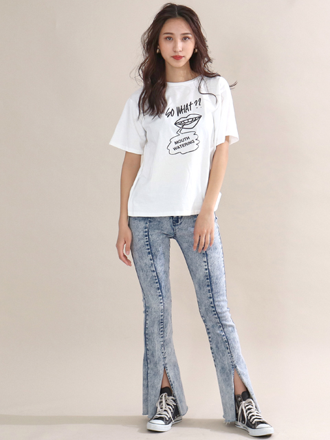 バックツイストプリントTシャツ