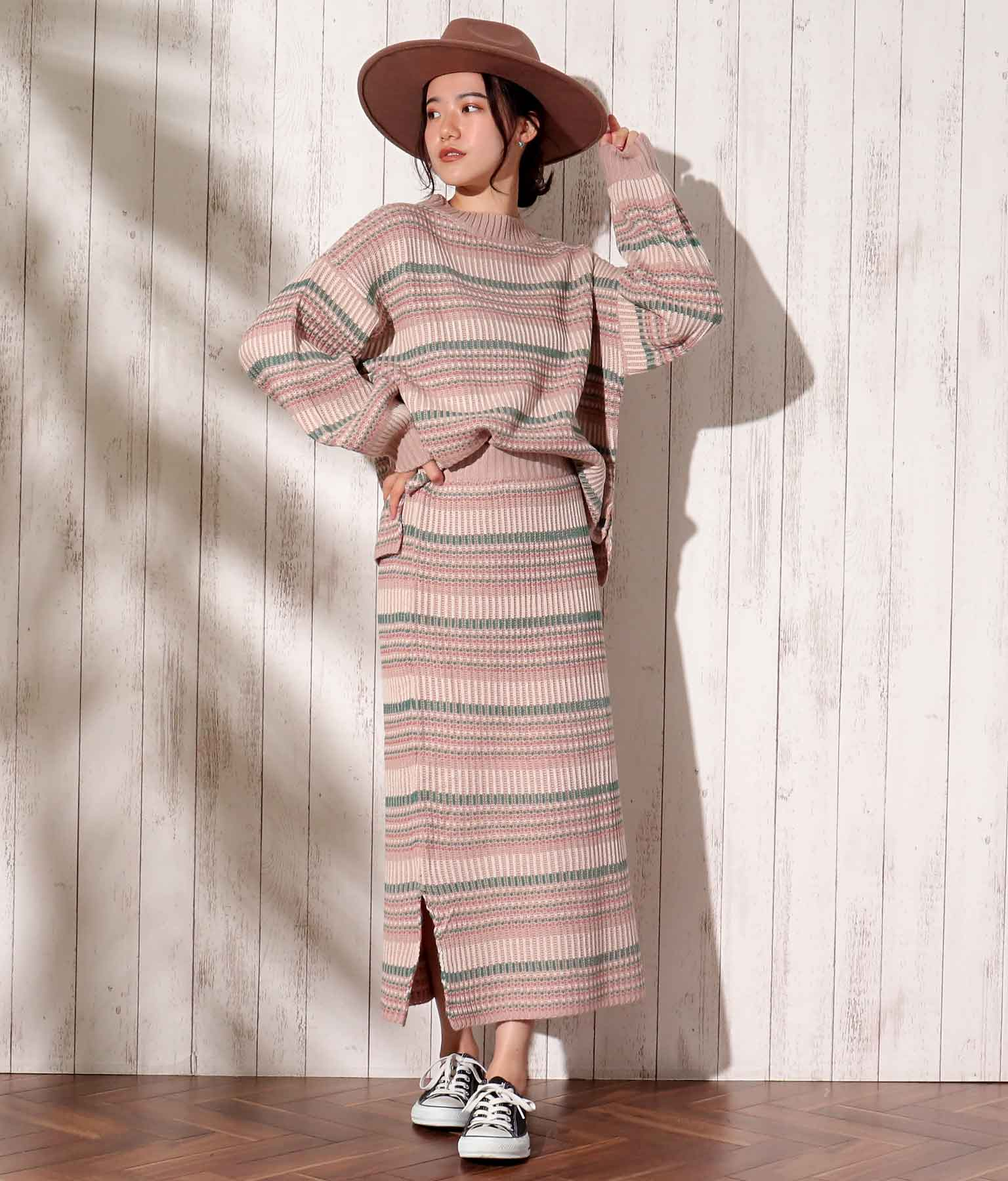 ボーダージャガードタイトスカート(ボトムス・パンツ /ニットスカート・ミモレ丈スカート・スカート) | anap mimpi