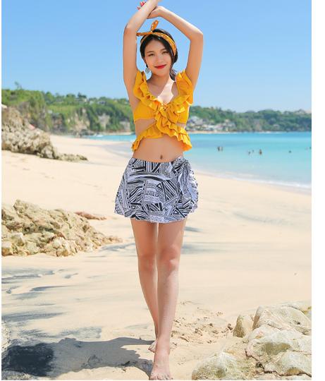 HOYUKIフレアカシュクールビキニ+柄物スカート(水着/ビキニ・水着セット) | HOYUKI