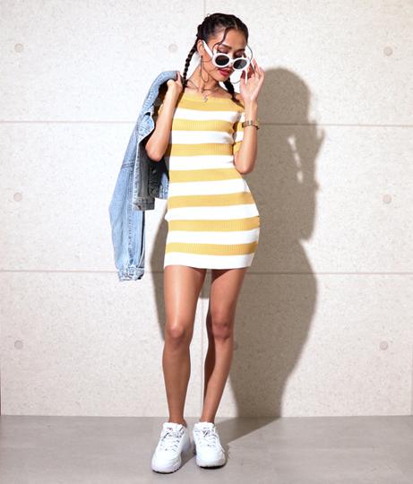 ボーダーオフショルタイトリブニットワンピース(ワンピース・ドレス/ミニワンピ) | Anap USA
