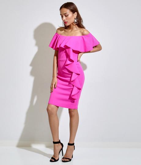 フリルショルダータイトドレス(ワンピース・ドレス/ドレス・パーティードレス) | Anap USA