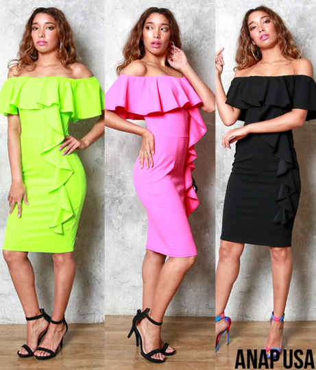 フリルショルダータイトドレス