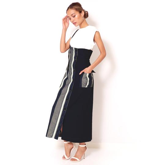 スラブリングストライプロングジャンパースカート(ボトムス・パンツ /スカート) | Alluge