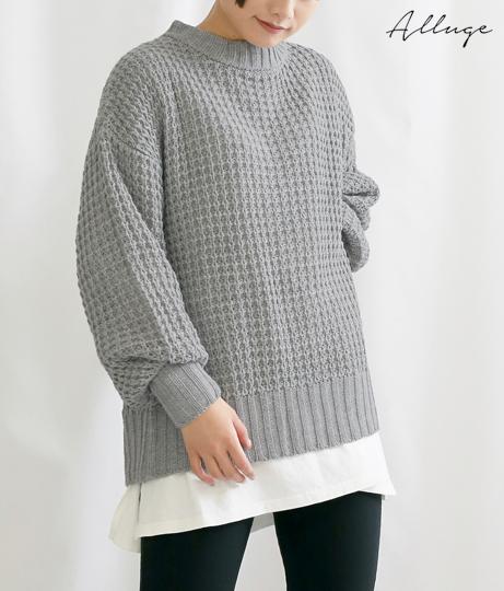 カシミヤタッチ柄編みバックスリットニットトップス