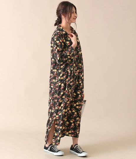 花柄シャツワンピース(ワンピース・ドレス/ロングワンピ・マキシ丈ワンピース) | AULI