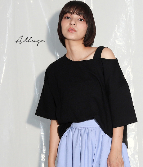 アシンメトリーショルダービッグTシャツ(トップス/Tシャツ)   Alluge