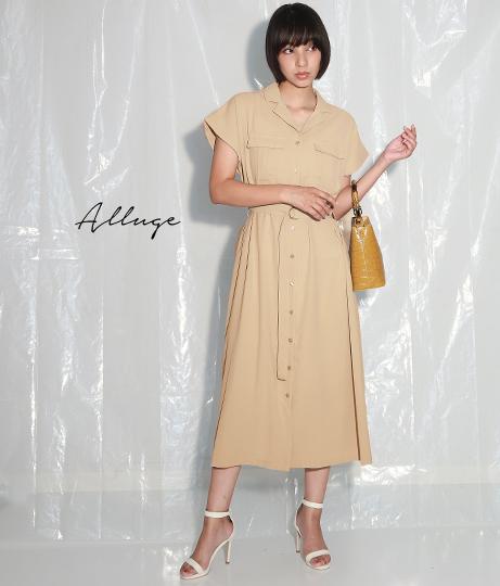 ウエストベルトシャツワンピース(ワンピース・ドレス/ロングワンピ)   Alluge