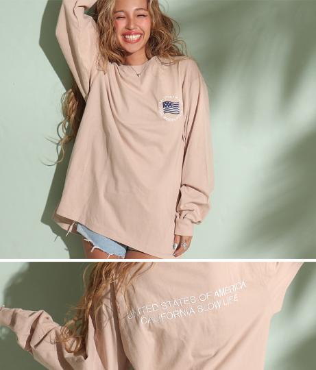 ビッグシルエット刺繍ロングTシャツ
