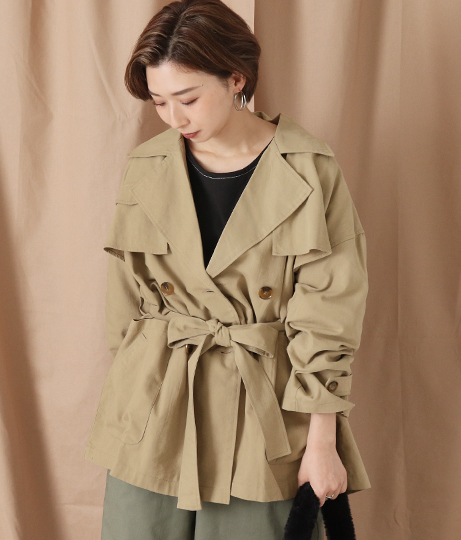ミドル丈トレンチジャケットコート(アウター(コート・ジャケット) /コート (トレンチコート・ロングコート) ・ジャケット・ブルゾン) | Factor=
