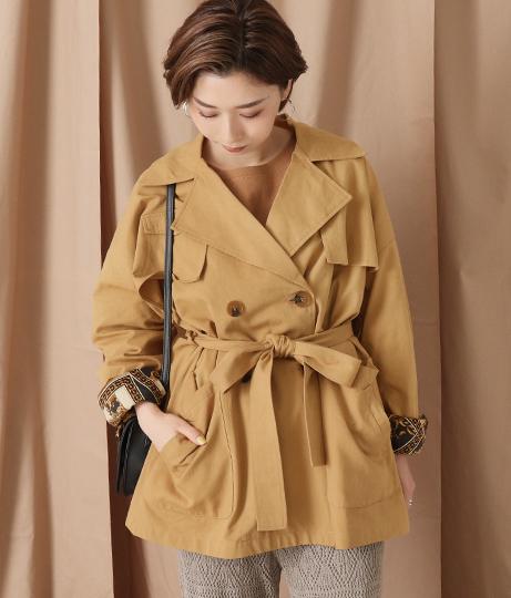 ミドル丈トレンチジャケットコート