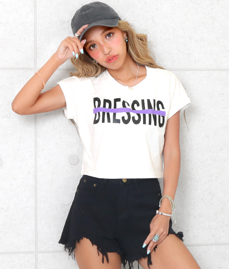 ロールアッププリントクロップドTシャツ(トップス/Tシャツ) | ANAP