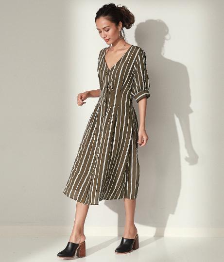 コード刺繍ストライプボリュームスリーブワンピース(ワンピース・ドレス/ミディアムワンピ) | Settimissimo