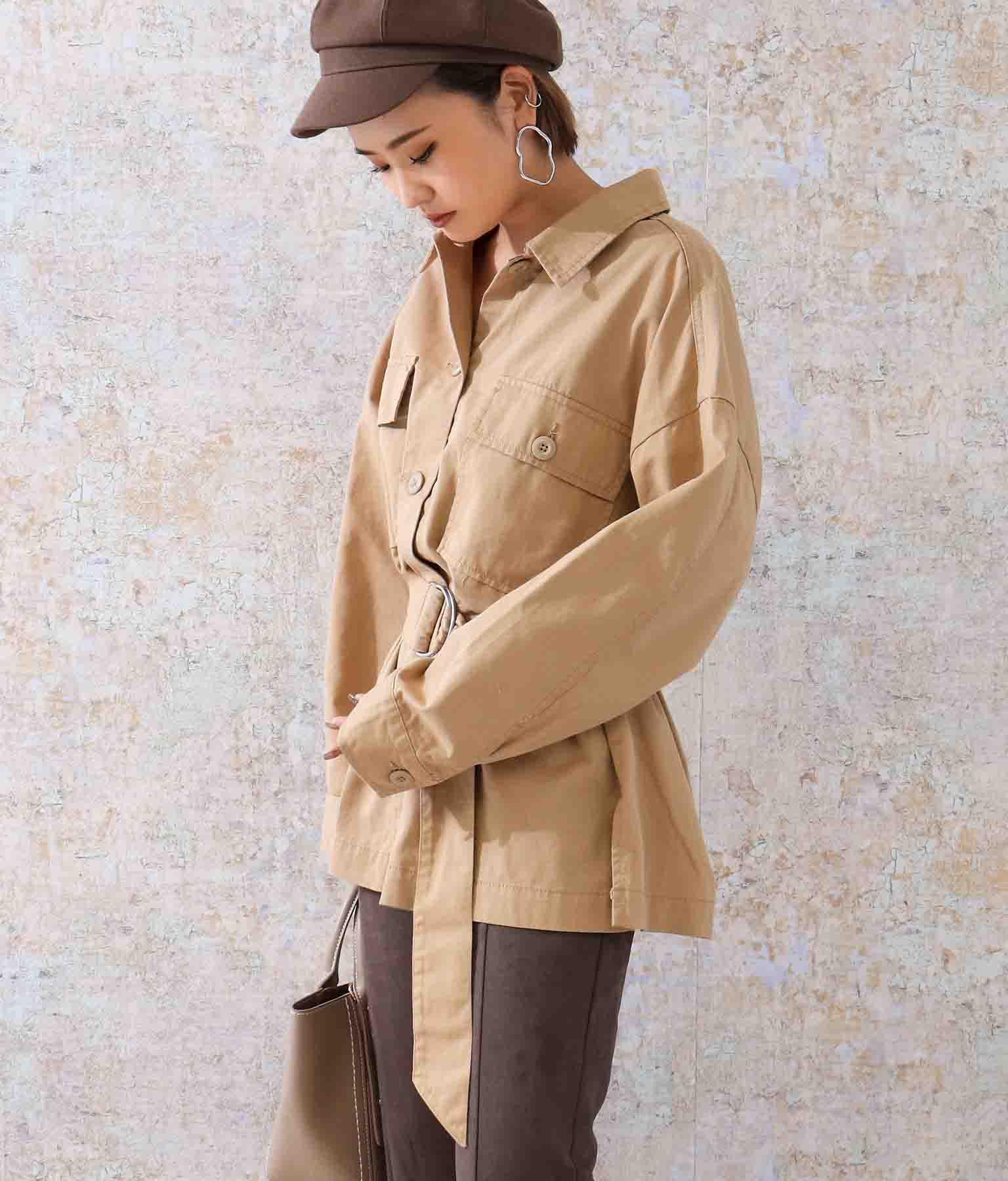 ベルト付ビッグポケットツイルシャツジャケット(アウター(コート・ジャケット) /ジャケット・ブルゾン) | ANAP