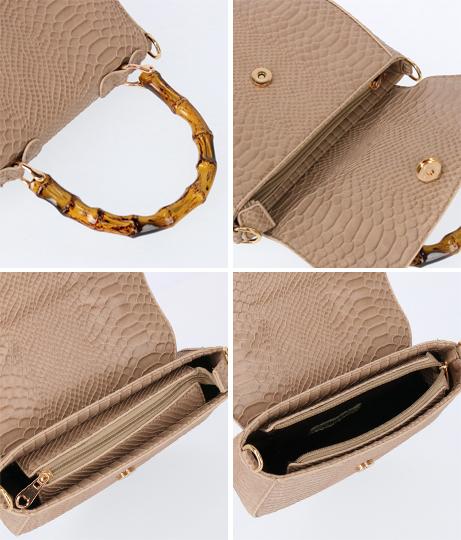 バンブー風ハンドル型押しパイソン柄バッグ(バッグ・鞄・小物/ハンドバッグ・ショルダーバッグ) | CHILLE