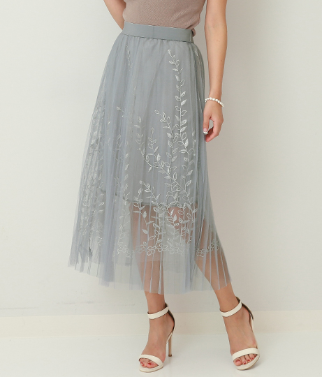 リーフ刺繍デザインチュールスカート(ボトムス・パンツ /スカート) | Alluge