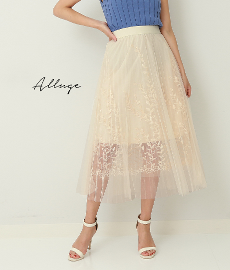リーフ刺繍デザインチュールスカート