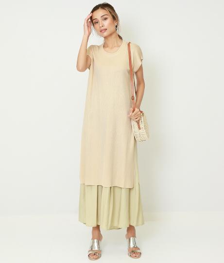 サイドスリットニットワンピース(ワンピース・ドレス/ミディアムワンピ) | Alluge