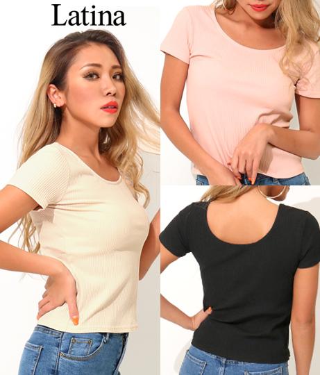 両UネックスリムフィットTシャツ