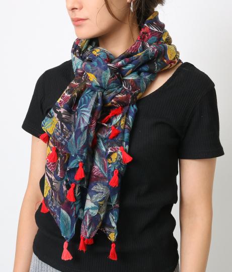 ネイビーリーフ柄大判スカーフ(ファッション雑貨/マフラー・ストール ・スヌード・スカーフ ) | Fle'as Market