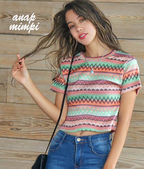 エスニック柄Tシャツ(トップス/Tシャツ) | anap mimpi