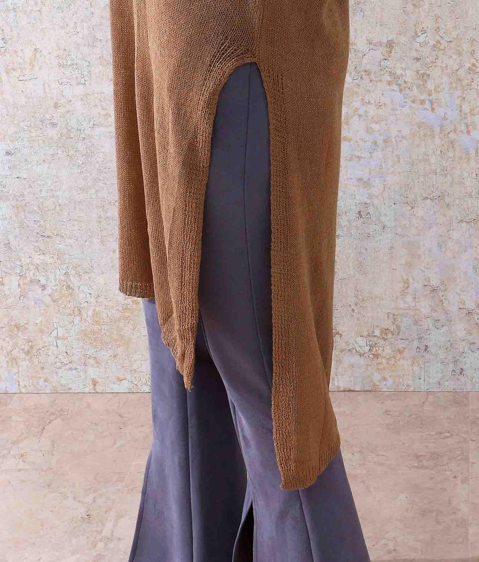 ディープスリットニットワンピース(ワンピース・ドレス/ミディアムワンピ) | ANAP