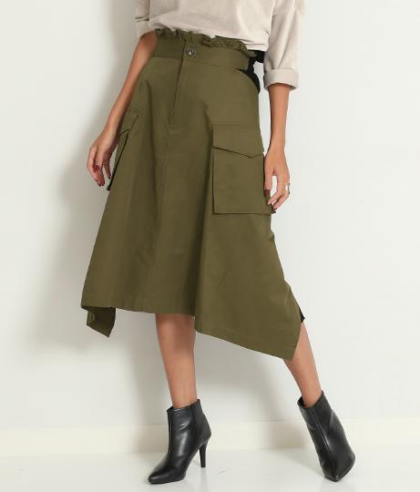 バックプリーツビッグポケットミリタリースカート(ボトムス・パンツ /スカート) | Alluge
