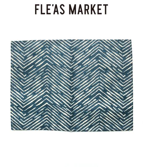 ネイビー波柄リネンテーブルプレイスマット(インテリア雑貨/インテリアアクセサリー・ラグ・マット)   Fle'as Market