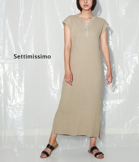サーマルヘンリーネックサイドボタンロングワンピース(ワンピース・ドレス/ロングワンピ)   Settimissimo
