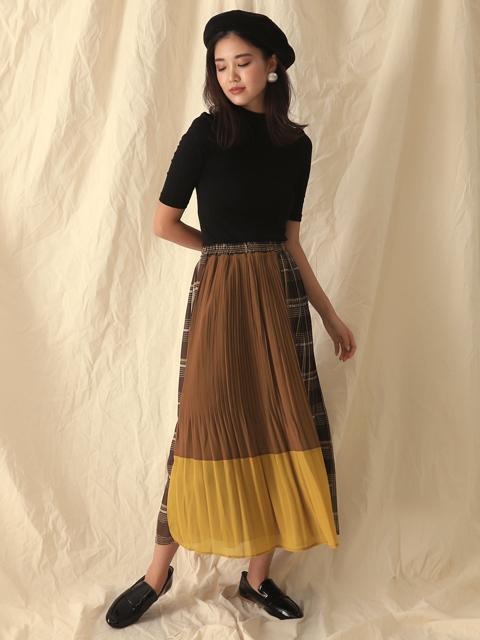 ブロッキングデザインプリーツスカート