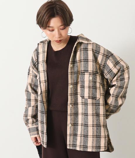ヘリンボーンチェックシャツジャケット