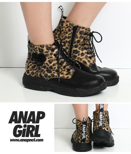 ヒョウ柄スパンコールハートブーツ(シューズ・靴/ブーツ) | ANAP GiRL