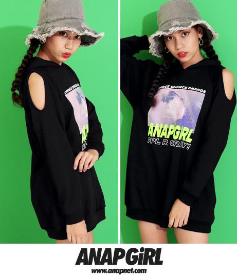 転写肩アキフーディーワンピース(ワンピース・ドレス/チュニック)   ANAP GiRL