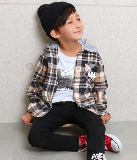 フード付チェックシャツ(アウター(コート・ジャケット) /チェックシャツ・シャツ・ブラウス・ジャケット・ブルゾン) | ANAP KIDS