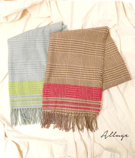 ライン×グレンチェックストール(ファッション雑貨/マフラー・ストール ・スヌード・スカーフ ) | Alluge