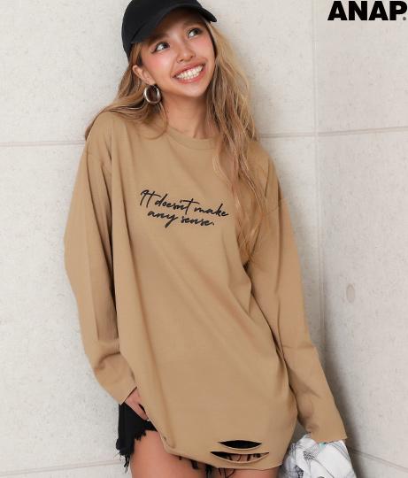 ヘムクラッシュカットオフロングTシャツ