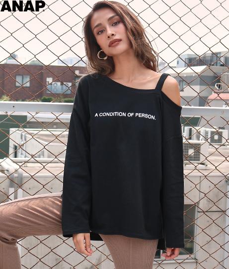 ワンショルダーストラップロングTシャツ