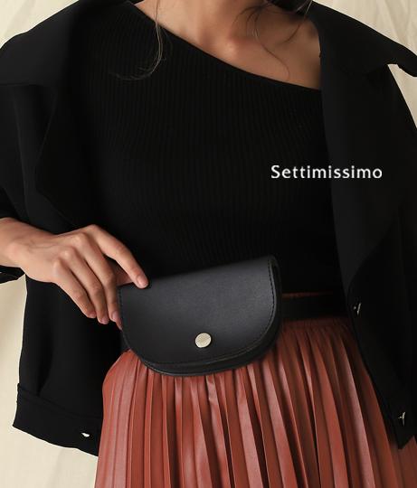 エコレザーシルバーボタンウエストポーチ(バッグ・鞄・小物/ショルダーポシェット) | Settimissimo