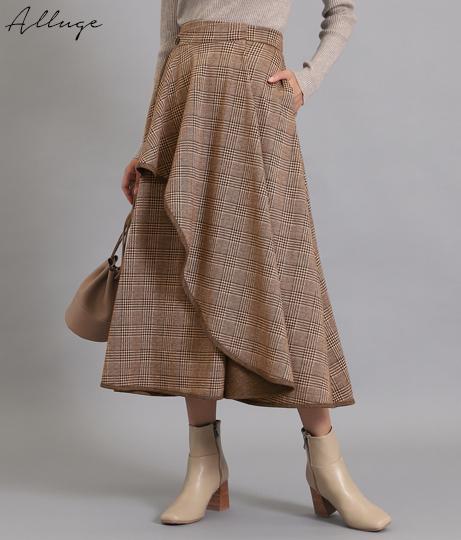 グレンチェックカットスカート