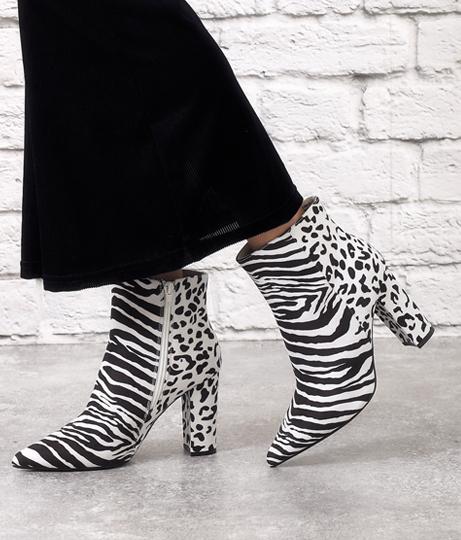 レオパード×ゼブラミックス柄ショートブーツ(シューズ・靴/ブーツ) | Anap USA