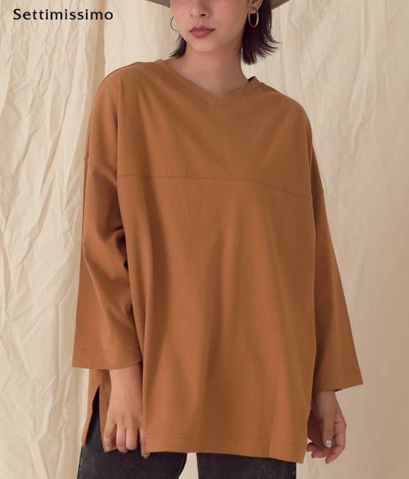 ヴィンテージ風サイドスリットロングTシャツ