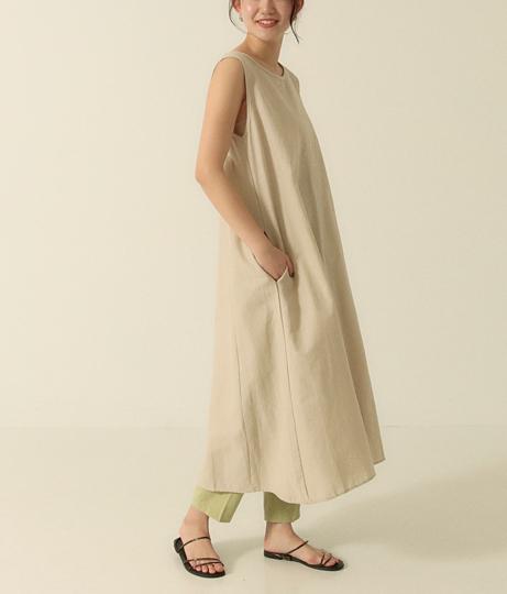 リネンノースリーブワンピース(ワンピース・ドレス/ミディアムワンピ) | AULI