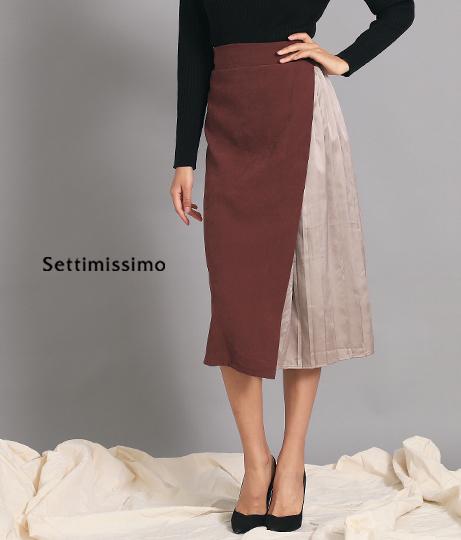 サイドサテンプリーツデザインスカート