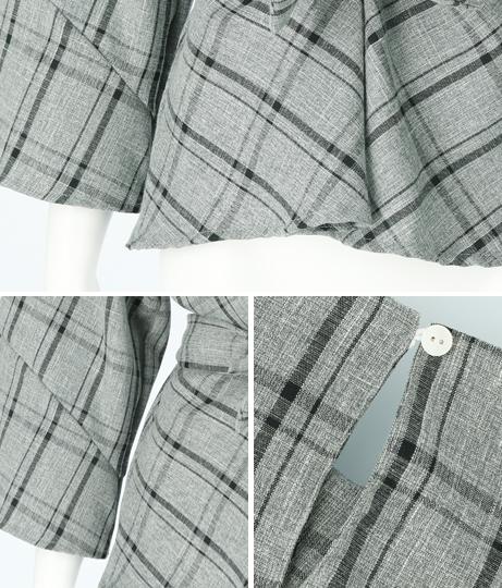 ウエストリボンパフ袖チェック柄トップス(トップス/カットソー ・シャツ・ブラウス)   CHILLE