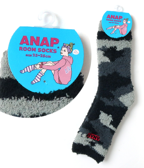 ANAPBOXロゴ迷彩柄モコモコソックス(ファッション雑貨/ソックス・靴下) | ANAP HOME