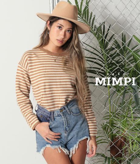 シンプルボーダーニットトップス(トップス/ニット/セーター) | anap mimpi
