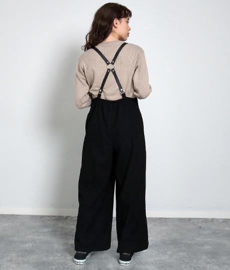 レザーサスペンダーオールインワン(ワンピース・ドレス/サロペット/オールインワン) | Factor=